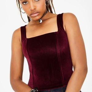 CURRENT MOOD velvet burgundy corset top